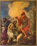 ROME ITALIEN: Måla - dop av Kristus i kyrka i kyrkliga Chiesa di San Silvestro i Capite och kapellet av den heliga anden Fotografering för Bildbyråer