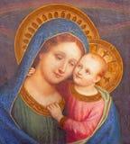 ROME ITALIEN - målarfärg av Madonna med barnet från kyrkliga basilikadi Santa Maria del Popolo av den okända konstnären av 16 cen Royaltyfri Bild
