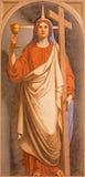 ROME ITALIEN - MARS 11, 2016: Den symboliska freskomålningen av tro som den huvudsakliga förtjänsten i kyrkliga basilikadi Santi  Royaltyfri Foto