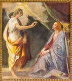 ROME ITALIEN - MARS 12, 2016: Förklaringfreskomålningen i sidokapellet av kyrkliga basilikadi Santi Quattro Coronati av Giovanni Arkivbilder