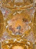 ROME ITALIEN - MARS 12, 2016: Freskomålningen av den obefläckade befruktningen i den huvudsakliga kupolen i Chiesa di Santa Maria Royaltyfria Foton