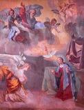 ROME ITALIEN - MARS 11, 2016: Freskomålningen av förklaringen i den kyrkliga Chiesaen di San Bartolomeo all ` Isola av den okända Arkivbild