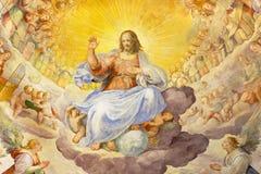 ROME ITALIEN - MARS 11, 2016: Freskomålningen av Kristus Förlossare i härlighet med den himla- värden Arkivbilder