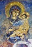 ROME ITALIEN - MARS 11, 2016: Freskomålningen av Madonna från 2 cent upptäckt i året 1904 i den kyrkliga Chiesaen di San Bartolom Arkivbild
