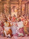 ROME ITALIEN - MARS 12, 2016: Freskomålningen för sista kvällsmål i Oratorium del Gonfalone av Livio Agresti Royaltyfri Bild