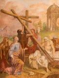ROME ITALIEN - MARS 9, 2016: Freskomålningen Sten Helen finner det heliga korset i kyrkliga basilikadi Santa Maria del Popolo av  Royaltyfri Fotografi
