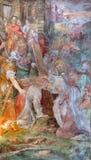 ROME ITALIEN - MARS 12, 2016: Freskomålningklättringen av Jesus till calvaryen i den kyrkliga Chiesa diSanta Maria dellen Orto av Royaltyfria Bilder