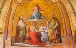 ROME ITALIEN - MARS 11, 2016: FresoKristus i härlighet i den kyrkliga Chiesaen di San Bartolomeo all ` Isola Fotografering för Bildbyråer