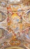 ROME ITALIEN - MARS 12, 2016: Härlighet av namnet av den Mary freskomålningen av Filippo Gherardi i kyrkliga Chiesa di San Pantal Royaltyfri Bild