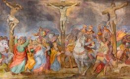 ROME ITALIEN - MARS 25, 2015: Korsfästelsefreskomålningen i kyrkliga Chiesa San Marcello al Corso vid G B Ricci 1613 Royaltyfria Bilder