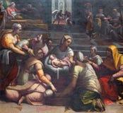 ROME ITALIEN - MARS 9, 2016: Kristi födelsen av oskulden i det Chigi kapellet av basilikadi Santa Maria del Popolo Fotografering för Bildbyråer
