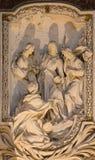 ROME ITALIEN - MARS 10, 2016: Lättnaden av platsen från liv av St James lärna aposteln av Salvatore Bercari 18 cent Arkivbilder