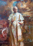 ROME ITALIEN - MARS 9, 2016: Målarfärgen av St John Paul II i kyrkliga basilikadi Santa Maria del Popolo av Natalia Tsarkova Arkivbild