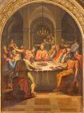 ROME ITALIEN - MARS 12, 2016: Målarfärgen för sista kvällsmål i kyrkliga basilikadi San Lorenzo i Damaso av Vincenzo Berrettini Royaltyfri Fotografi