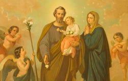 ROME ITALIEN - MARS 10, 2016: Målningen av den heliga familjen i kyrkliga basilikadi Santa Maria Ausiliatrice Royaltyfri Bild