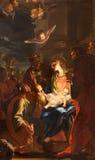 ROME ITALIEN - MARS 10, 2016: Målningen av tre de tre vise männen i kyrkliga Chiesa di Santa Caterina da Siena en Magnapoli Royaltyfri Bild