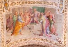 ROME ITALIEN - MARS 11, 2016: Personalen av Moses Turns in i en orm av Andrea Lilio 1555 - 1642 Royaltyfri Foto
