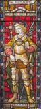 ROME ITALIEN - MARS 9 2016: Sten Alban på målat glass allra Saints& x27; Anglikansk kyrka vid arbetsrummet Clayton och Hall Arkivbilder