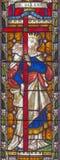 ROME ITALIEN - MARS 9 2016: Sten Helen på målat glass allra Saints& x27; Anglikansk kyrka vid arbetsrummet Clayton och Hall Royaltyfria Bilder
