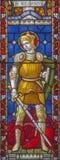 ROME ITALIEN - MARS 9 2016: Stet George på målat glass allra Saints& x27; Anglikansk kyrka vid arbetsrummet Clayton och Hall Arkivfoton