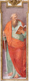 ROME ITALIEN - MARS 12, 2016: Stet Paul apostelfreskomålningen i den kyrkliga basilikaSan Giovanni deien Fiorentini av Nicolo Cir Arkivfoto