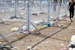Rome Italien 15 November 2015: avfalls efter en händelse de smutsiga områden en musikalisk konsert Royaltyfri Bild