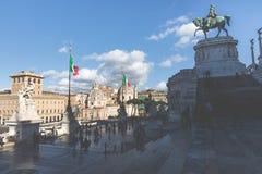 ROME ITALIEN - NOVEMBER 30, 2017: Minnes- monument Vittorianen Arkivfoto