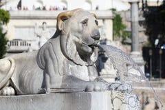 Rome Italien Piazza del Popolo Springbrunn Royaltyfria Bilder