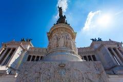ROME ITALIEN - September 13, 2016: Sikt på den nationella monumentet till Victor Emmanuel II - första konung av en enade Italien  Arkivbilder