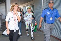 ROME ITALIEN - SEPTEMBER 30 2007 Superbikemästerskap, Vallelu Royaltyfri Fotografi
