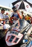 ROME ITALIEN - SEPTEMBER 30 2007 Superbikemästerskap, Vallelu Arkivbilder