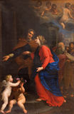 ROME ITALIEN: Umgänge av Giovanni Maria Morandi (1659) i den högra tvärskeppet av kyrkliga basilikadi Santa Maria del Popolo Arkivbilder
