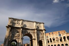 Rome, Italy. Colosseum and Arch of Constanine Royalty Free Stock Images