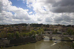 In Rome, Italy. View of the Tiber river from Castel St. Angelo Stock Photography