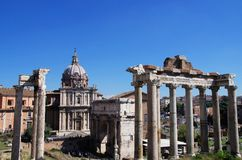 Roman Forum, Rome Italy. Ruins of the Roman Forum in the city of Rome Italy Stock Images