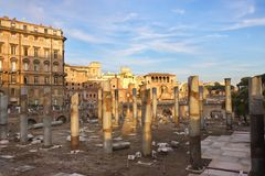 Rome, Italy. Ancient ruins, columns and buildings in Rome Stock Images