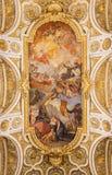 ROME, ITALY:  Apotheosis of St Louis vault fresco 1756 in church Chiesa di San Luigi dei Francesi. Royalty Free Stock Photos