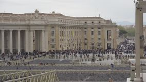 ROME, ITALY - April . 10 2019: Carlo Maderno Fountain at St. Peter`s square in Vatican City, Rome. People wait to enter. To St. Peter`s Basilica stock footage