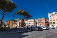 Largo di Torre del Argentina, Rome. Rome, Italy - April 5, 2019: Cityscape and generic architecture from Rome, the Italian capital. Largo di Torre del Argentina stock photography