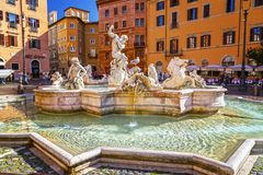 Navona Square in Rome, Italy. Rome, Italy - April 5, 2019: Cityscape and generic architecture from Rome, the Italian capital. Navona Square royalty free stock image