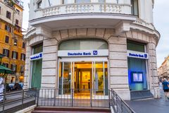 A branch of Deutsche Bank. Rome, Italy - April 4, 2019: Cityscape and generic architecture from Rome, the Italian capital. A branch of Deutsche Bank royalty free stock photo
