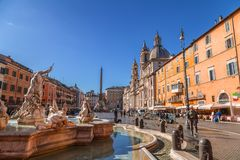 Navona Square in Rome, Italy. Rome, Italy - April 5, 2019: Cityscape and generic architecture from Rome, the Italian capital. Navona Square royalty free stock photography