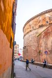 Exterior view of the historical Pantheon in Rome, Italy stock photos