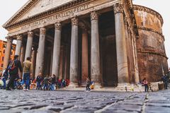 Exterior view of the historical Pantheon in Rome, Italy stock photography