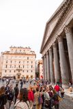 Exterior view of the historical Pantheon in Rome, Italy stock image