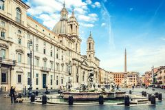 Rome, Italy, 26 April 2017. The famous Navona square /Piazza Navona/. Sant` Agnese church and La Fontana del Moro in front. Royalty Free Stock Photo