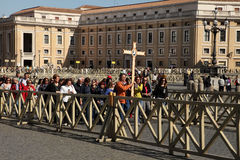 Rome, Italy - APRIL 10, 2016: Groupe of pilgrims going to St Pet Stock Images