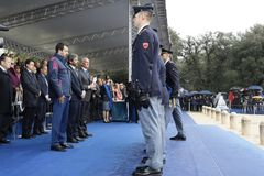 167th Anniversary of the Italian Police. Public ceremony, medalists stock image