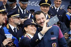 167th Anniversary of the Italian Police. Matteo Salvini selfie royalty free stock photos