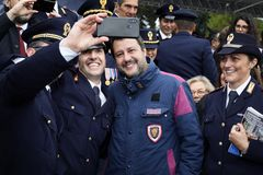 167th Anniversary of the Italian Police. Matteo Salvini selfie stock photography